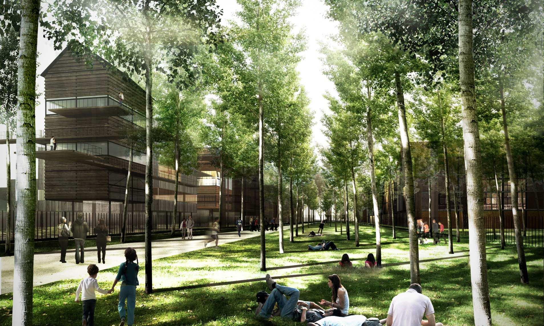 Esquisse des futurs logements collectifs sur pilotis prévus à Brazza (Bordeaux)