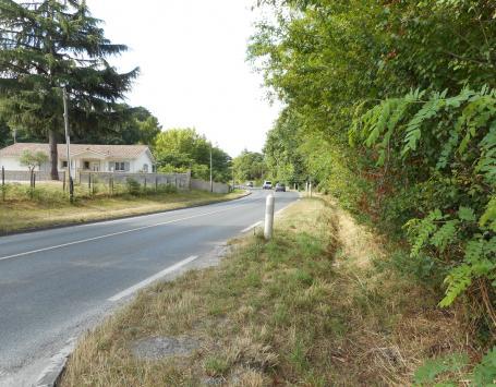 A proximité du giratoire de la rue Mermoz : voirie actuelle avec talus, fossé et végétation en partie privative