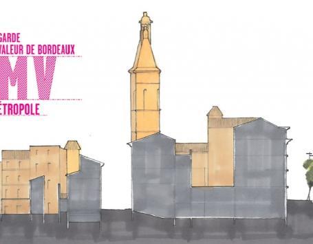 Esquisse réalisée par la direction urbanisme de Bordeaux Métropole : coupe d'immeubles aux abords de la grosse Cloche pour représenter les différences de gabarits entre immeubles domestiques et architecture plus monumentale.