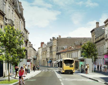 Projet BHNS Bordeaux Saint-Aubin (image de synthèse)
