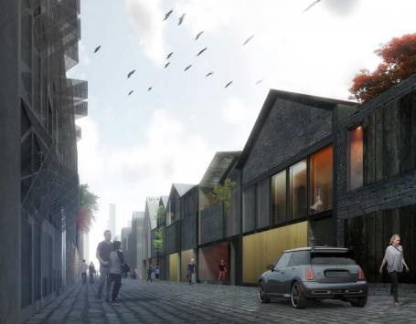 Esquisse des échoppes, un des types de nouveaux logements prévus dans le projet de Brazza