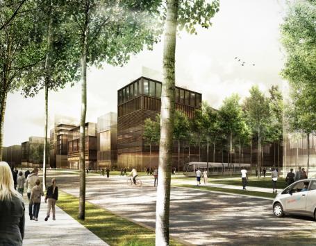 Esquisse des futures immeubles en front de Garonne à Brazza (Bordeaux)