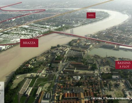 Vue aérienne de localisation de Brazza sur la rive droite à Bordeaux