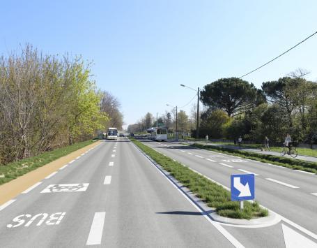 Vue du projet au droit de l'arrêt bus existant « Hestigeac »