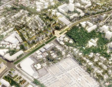 Perspective représentant une vue aérienne du futur quartier Mérignac Marne, au niveau des 4 chemins