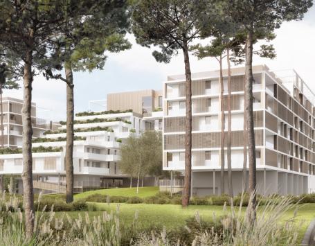 Cette image présente l'intégration du projet dans son futur environnement paysager
