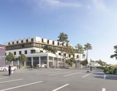 Cette image présente l'intégration du projet dans son futur environnement urbain