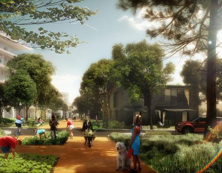 Exemple d'aménagement possible d'une rue (croquis d'architecte).