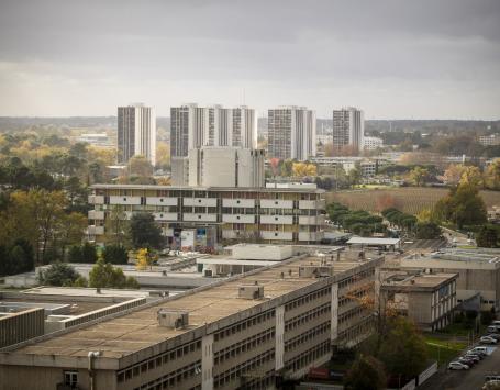 La photo montre le quartier de Saige dans la perspective de l'université Bordeaux Montaigne, démontrant ainsi leur proximité