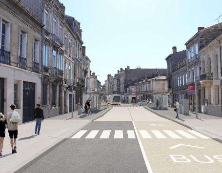 Image de synthèse de la station Lycée Camille Jullian rue de la Croix Blanche à Bordeaux