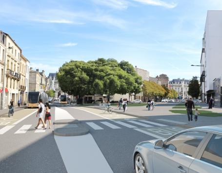 Image de synthèse de la place Pierre et Marie Curie à Bordeaux