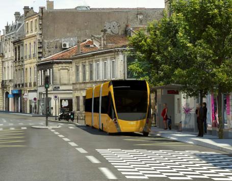 Image de synthèse pour le projet de BHNS, entre Bordeaux centre et Saint-Aubin-de-Médoc : ici, projection d'une station à la Croix Blanche à Bordeaux