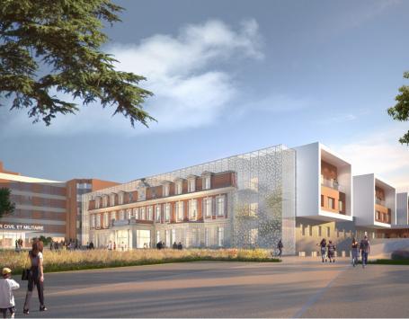 Le projet Bahia, vue du futur bâtiment 24 : perspective sur l'horloge