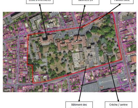 Vue aérienne du périmètre de Bagatelle et des bâtiments existants aujourd'hui