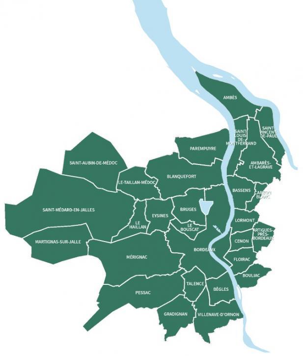 Carte des 28 communes membres