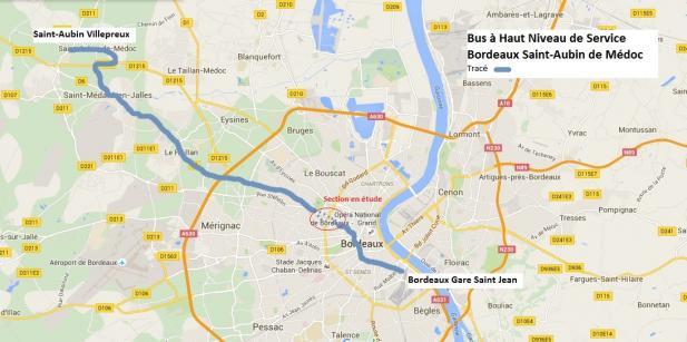 Le tracé du BHNS Bordeaux gare Saint-Jean / Saint-Aubin de Médoc, validé par le Conseil de Bordeaux Métropole du 25 mars 2016