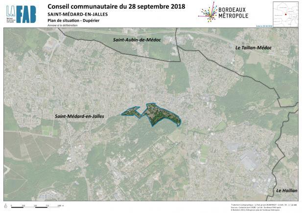 Repérage de la localisation du site sur fond de photo aérienne à l'échelle de la commune